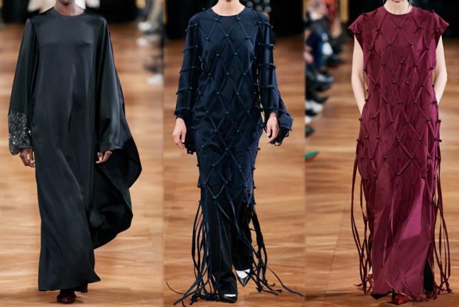 платья для торжественного случая с модных показов на 2021 год для полных и пожилых женщин от Stella McCartney с ленточным декором