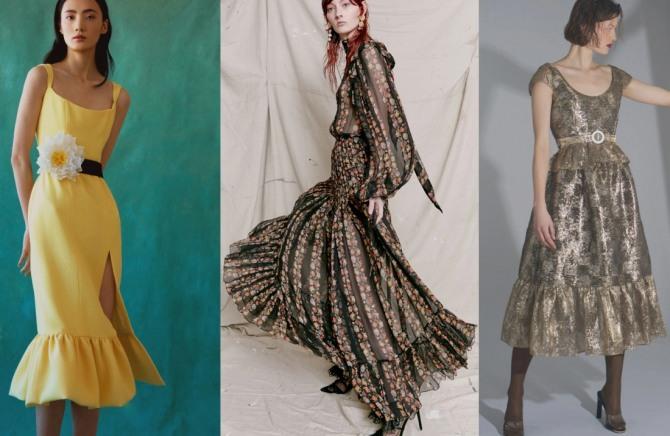 женские платья фасона трампет из дизайнерских коллекций 2021 года