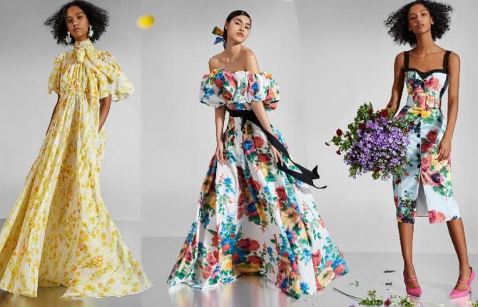 фасоны модных летнев нарядных платьев 2021 - длинных и коротких - с крупным и мелким, ярким и скромным цветочным принтом - фото с подиума