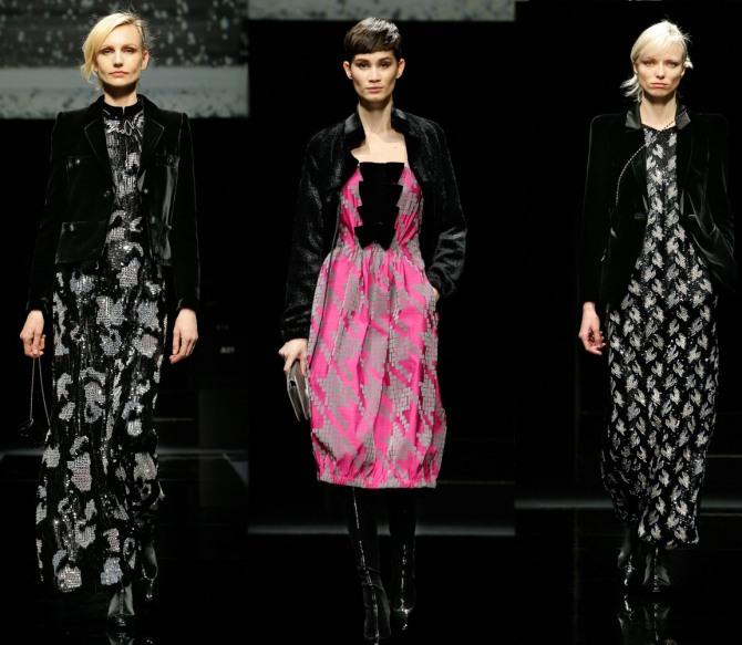 модные платья на весну с принтами и черным бархатным жакетом от Giorgio Armani