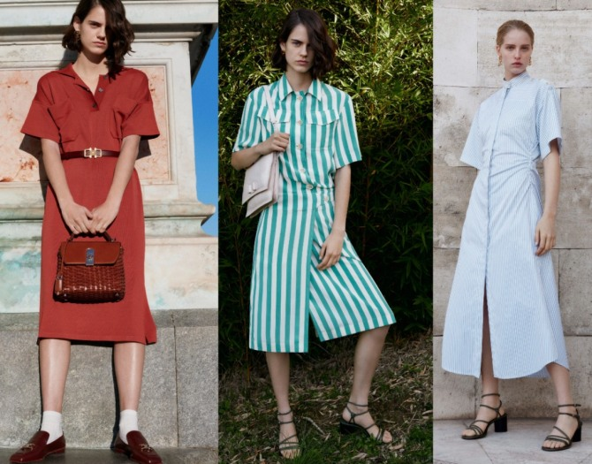 модные платья-рубашки миди на летний сезон 2021 с подиума