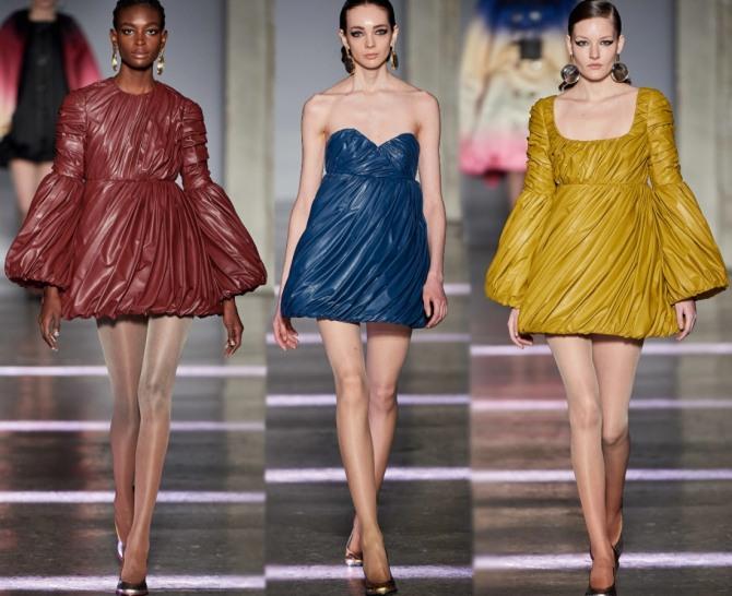 вечерние короткие платья 2021 из цветной экокожи от Marco de Vincenzo