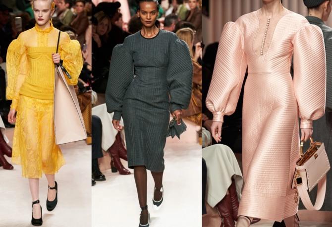 фото моделей платьев из коллекций 2021 года с заниженной линией рукава