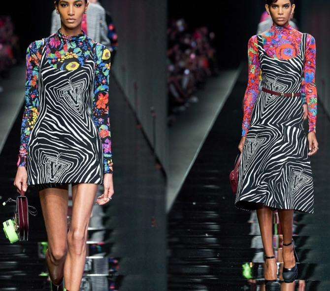 Платье-сарафан на весну 2021 года с анималистическим рисунком в сочетании с яркой водолазкой, черно-белый анималистический принт