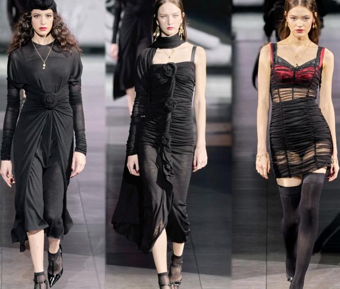 двухслойные черные платья с драпировкой
