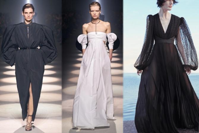 фасоны вечерних платьев из белой и черной ткани с пышными рукавами - тренды 2021 года