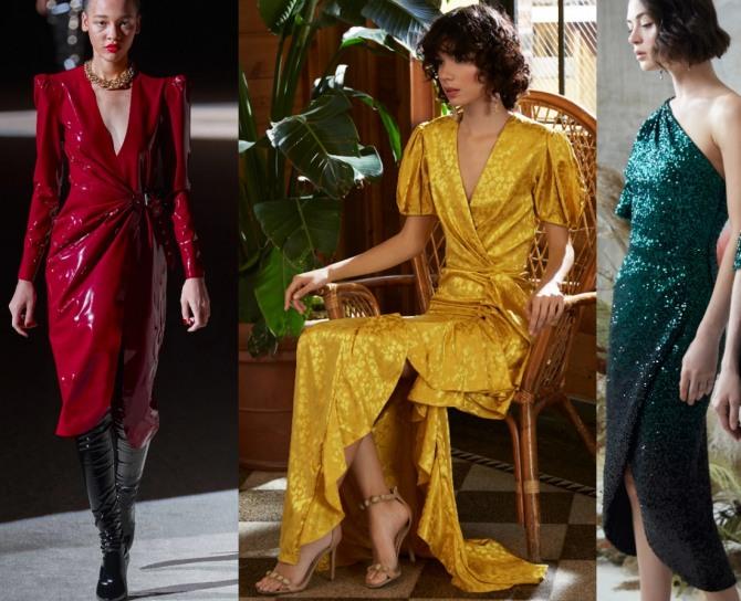 фото новинок дизайнерских платьев с запахом - тренды с недель моды на 2021 год