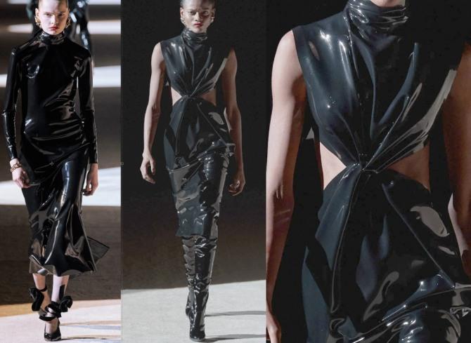 черные платья из латекса из коллекции Saint Laurent 2021 года