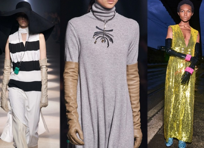 главные тренды в женской одежде 2021 года - платья с длинными перчатками из экокожи и латекса - фото с модных показов