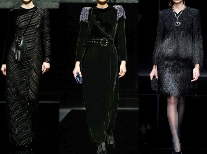 новинки моделей вечерних черных платьев для женщин за 60 на зимний сезон 2021 года - луки с подиума