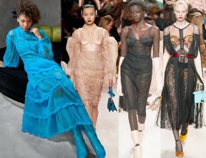 Вечерние платья из прозрачных тканей с топом бандо