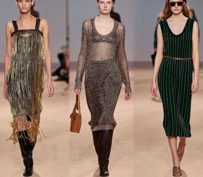 блестящие платья 2021 из металлизированных тканей или с блестящим декором
