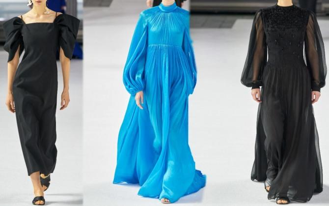модные фасоны платьев 2021 года для пожилых женщин за 65 и 70 лет с модных показов в Нью-Йорке