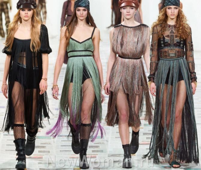 платья с длинной бахромой-лапшой - модный тренд для светского мероприятия 2021 года