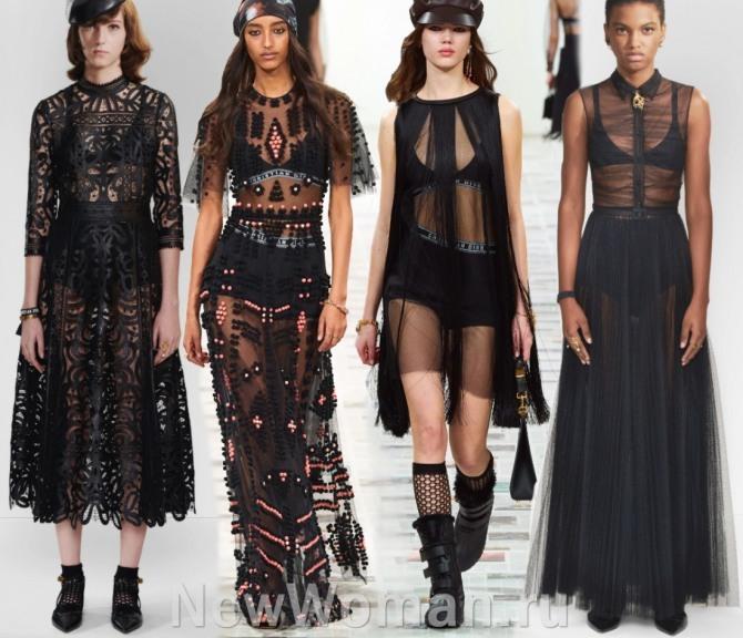 модели прозрачных платьев из тюли и сетки от модного дома Кристиан Диор - модный показ на 2021 год