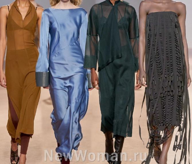 модные фасоны вечерних платьев миди весна-лето 2021 с модных показов
