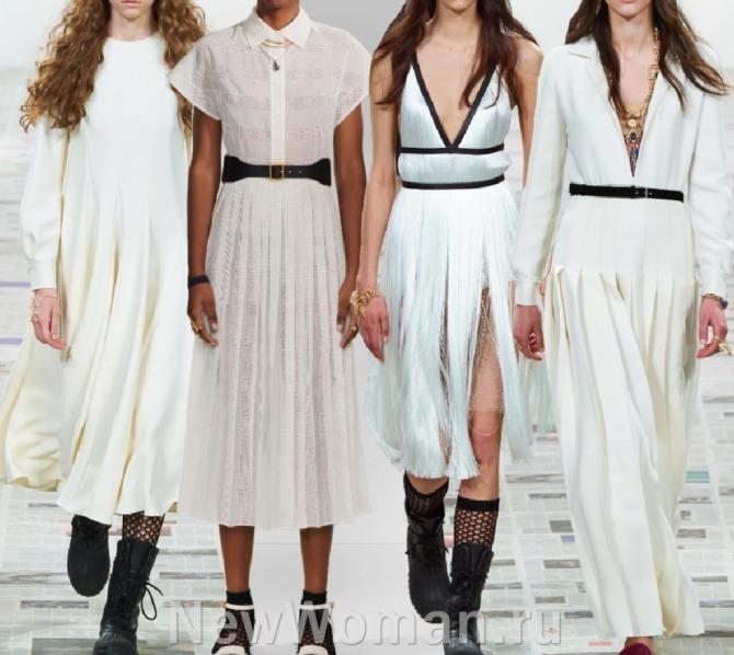 белые, кремовые, жемчужные красивые платья весна-лето 2021 с подиума