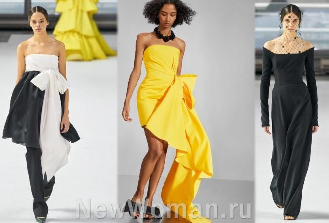 вечерние платья на 2021 год с полностью оголенными плечами  - тенденции на весну, лето, осень, зиму от модного дома Carolina Herrera