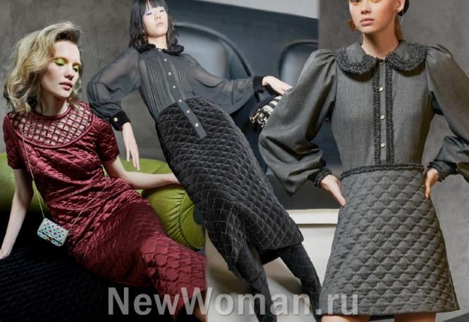 фото модных платьев из стеганой ткани с модных показов на 2021 год в столицах мировой моды