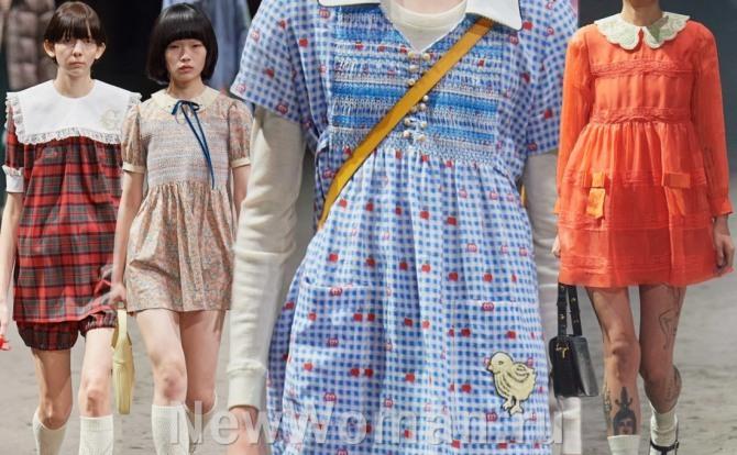 главные модные тренды на 2021 год - имитация детского платьица - мода для девушек от модного дома Гуччи