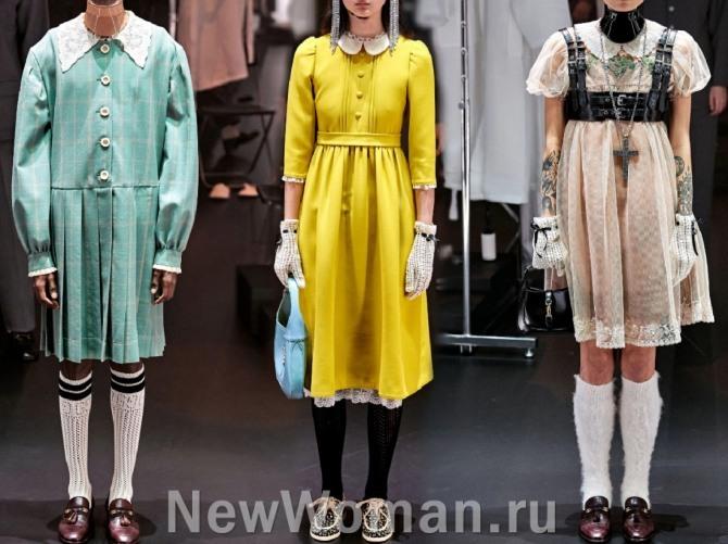 какие платья самые модные в 2021 году - в стиле 70-х с белыми отложными воротниками - модный показ Гуччи