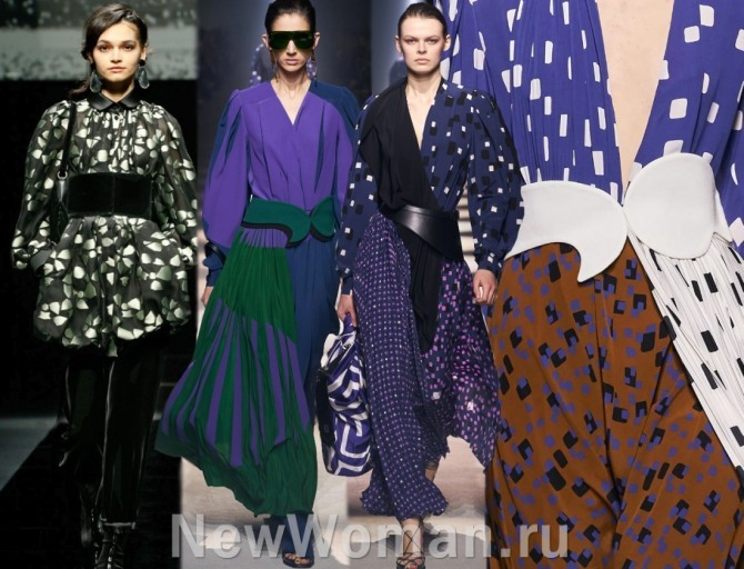 по итогам недель моды на 2021 года в тренде платья с широкими поясами