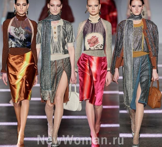модные платья 2021 года - это платья из микса тканей разных фактур: трикотажа, пайточночного материала, сатина, атласа