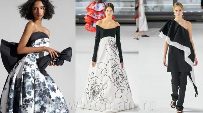 модные платья с подиумов для особого случая в черно-белой цветовой гамме на весну, лето, осень, зиму 2021 года