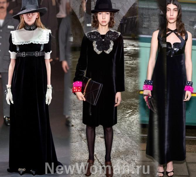 какие платья модные в 2021 году по итогам модных показов - модели из бархата, коллекция осень-зима 2021 Гуччи
