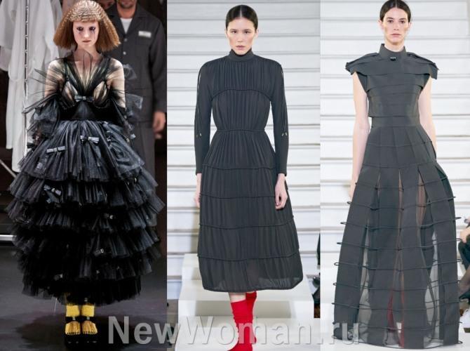 многоярусные платья черного цвета - луки из дизайнерских коллекций женской модной одежды на весну, лето, осень, зиму 2021 года