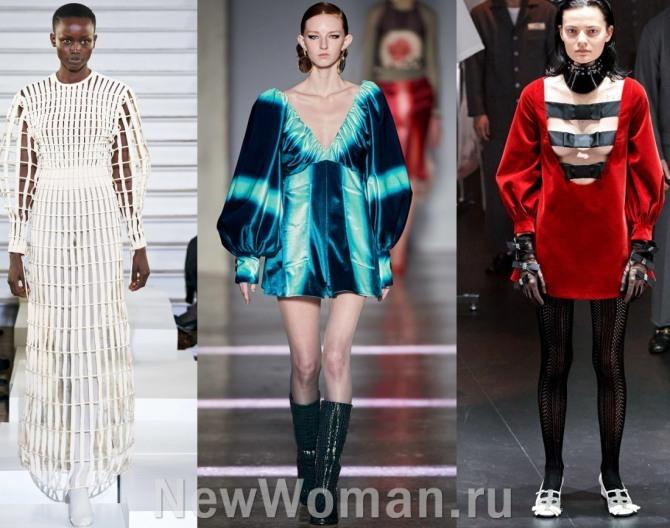 платья с подиума в столицах мировой моды с пышными рукавами на манжете - тренды 2021 года
