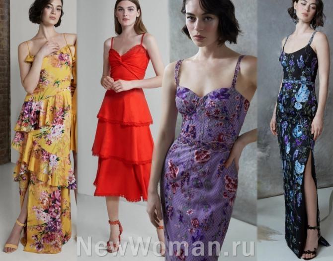 Летние нарядные платья 2021 на бретелях