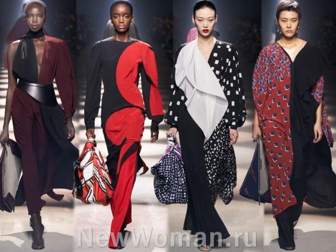 модный тренд 2021 года - деление платья на две половины разного цвета или на две вертикальной части с принтом и без принта