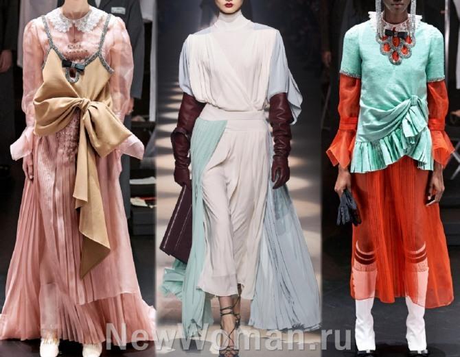 фото многослойных платьев 2021 года с недель моды