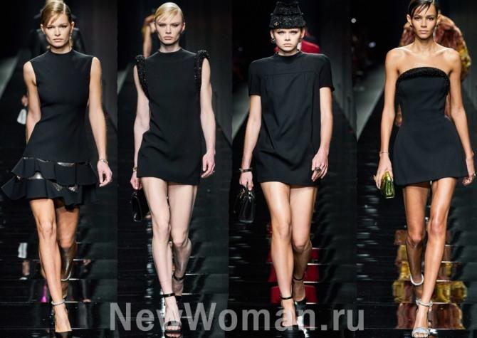 маленькое черное платье осень-зима 2021 от бренда Версаче - фото с подиума