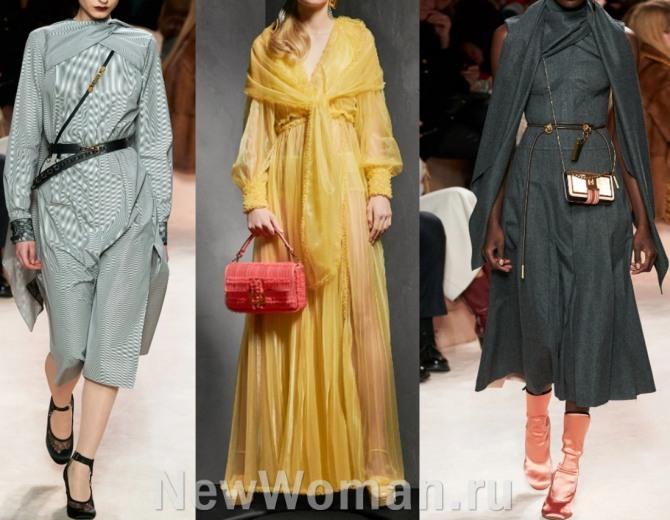 платья с палантинами от Fendi - коллекция осень-зима 2020-2021, подиум