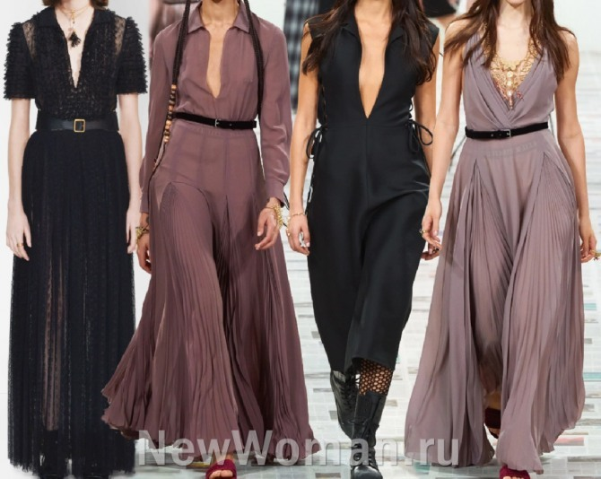 вечерняя мода 2021 - фото платьев в пол с очень глубокими вырезами на груди