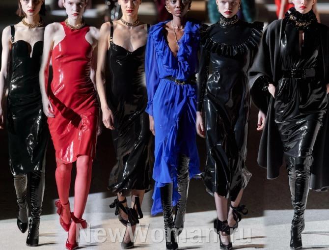 нарядные платья миди от модного дома Saint Laurent на 2021 год