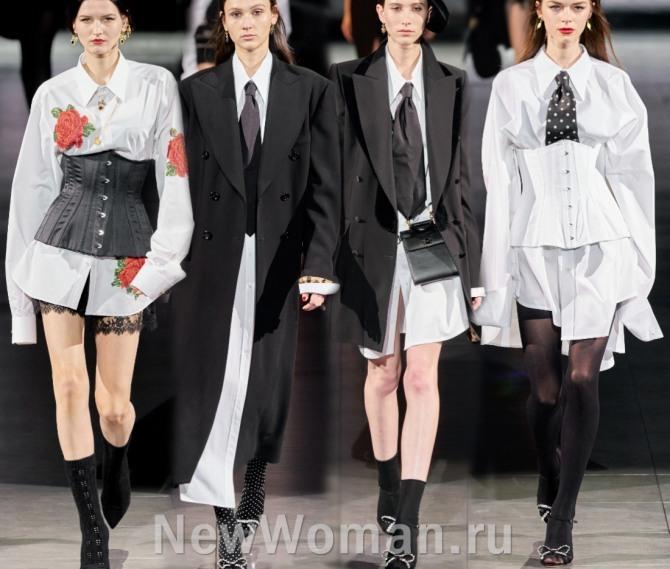деловые палатья-рубашки белого цвета - модный тренд на весну и лето 2021 года от бренда Dolce & Gabbana