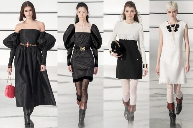 фото черных и черно-белых вечерних платьев для девушек от Chanel из коллекции 2021 года