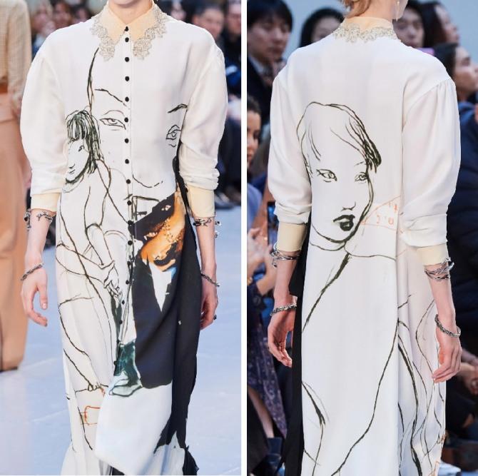 принт граффити - светлое платье с маленьким воротником с кружевной отделкой от французского бренда Chloé