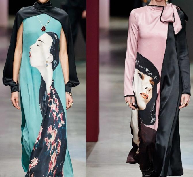 шелковые платья с плакатным принтом