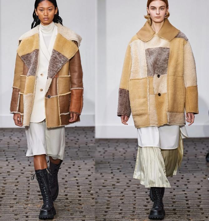 Свободные до бедра брендовые дубленки с модных показов в стиле колорблокинг и пэчворк - модные зимние образы в коричнево-песочных тонах от бренда Nehera