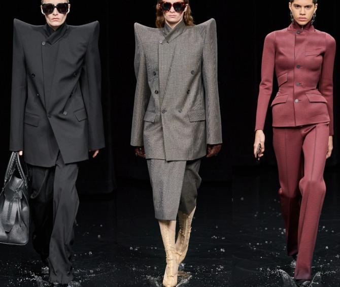 футуристические фасоны женских костюмов 2021 года от бренда Balenciaga (Парижский показ)