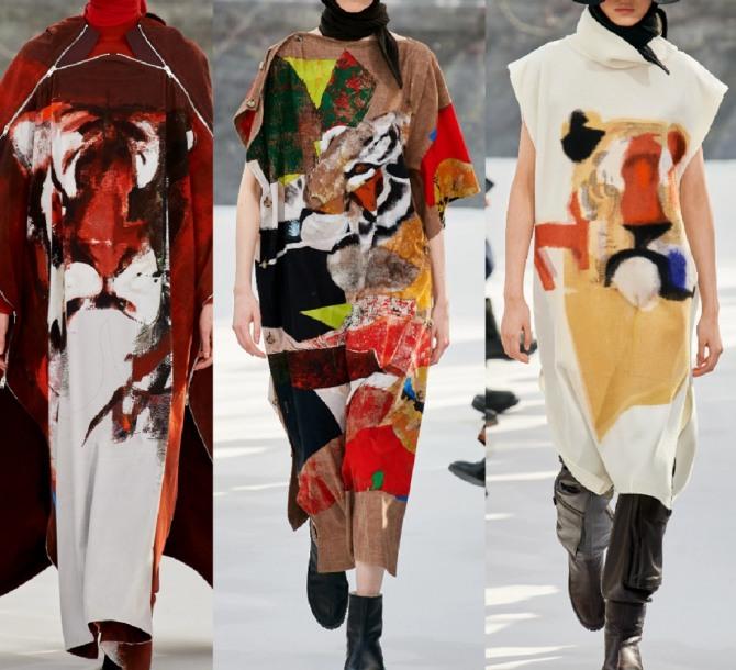 яркие длинные свободные платья-сарафаны с модных показов 2021 года с абстрактным рисунком от бренда Kenzo