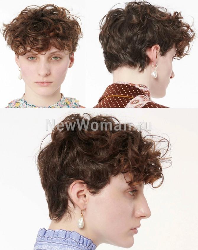 модные женские стрижки для коротких волос с модных показов осень-зима 2020-2021 - пикси на отросших кудрявых волосах с пышной челкой, полностью закрывающей лоб