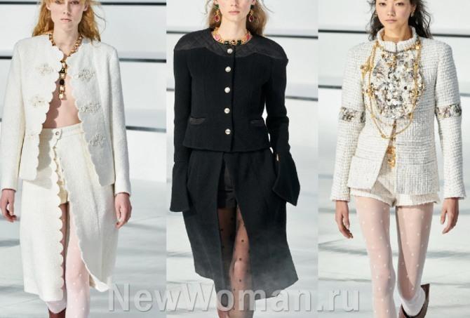 шикарные женские костюмы из твида на сезон 2021 года от французского модного дома Шанель - с юбками и шортами