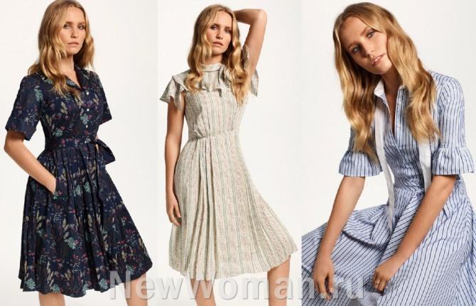 фото летних офисных платьев с принтами для девушек на лето 2021 года из дизайнерской коллекции