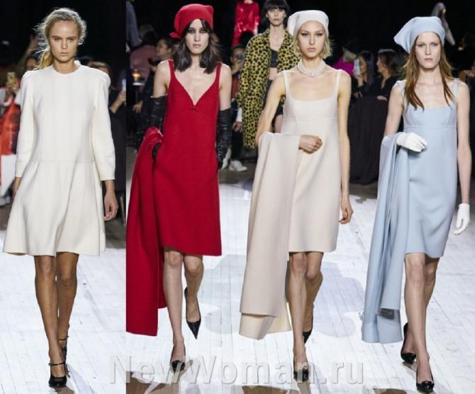 короткие стильные платья и платья-сарафаны для девушек в минималистическом стиле светлых тонов и красного цвета - с палантинами, косынками на голове и перчатками