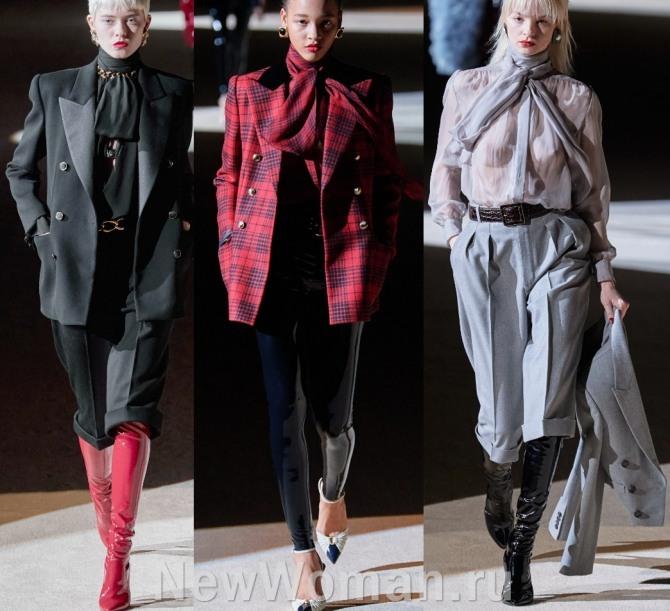 модные образы женских стильных костюмов с брюками-кюлотами, латексными штанами, двубортными пиджвками - фото с подиума Осень-Зима 2020-2021 бренда Saint Laurent в Париже